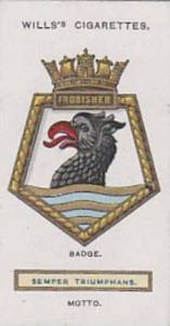 Wills Vintage Cigarette Card Ships Badges No. 18 Frobisher 1925