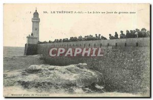 Old Postcard Treport S Inf La Jetee one day big sea Lighthouse