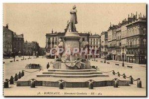 Bordeaux Old Postcard Monument Gambetta