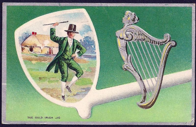 'Ould Irish Jig' Man Dancing Harp St Patricks Day Used 1910