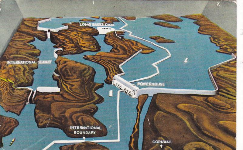 Cornwall Canada Map.Map St Lawrence Seaway And Power Project Cornwall Ontario