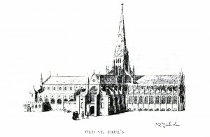 London Art Sketch Postcard, Old St. Paul's Cathedral 58L