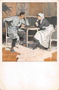 US3539 Kriegspostkarten von B. Wennerberg Schach, Patient playing Chess
