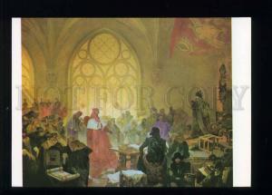 208455 CZECH Alfons Mucha George Podebrady & Kunstat postcard