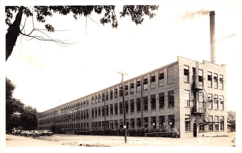 Salem Illinois~Brown Shoe Co Factory~Fire Escapes~Smoke Stack~Cars~1940s RPPC