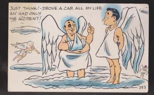 Comic Postcard - Man In Heaven After Car Accident - Used 1954