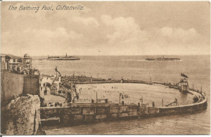 Old Postcard, Ocean Side - The Bathing Pool Cliftonville United Kingdom UK