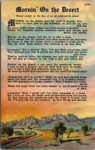 Mornin' on the Desert Poem publ Tucson AZ Linen Postcard unused 1930s/40s