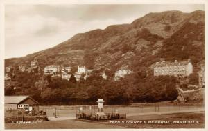 Vintage Real Photo Postcard BARMOUTH Tennis Courts & Memorial 11V