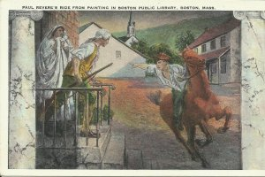 Boston, Mass., Paul Revere's Ride From Painting In Boston Public Library