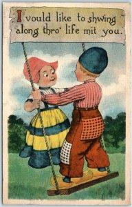 1914 Dutch Kids Romance Postcard I Vould Like to Showing Thro' Life mit You
