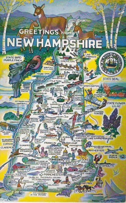 Freetings From New Hampshire With Map