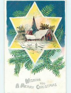 Pre-Linen christmas SNOW-COVERED CHURCH ON JEWISH STAR OF DAVID HQ7094
