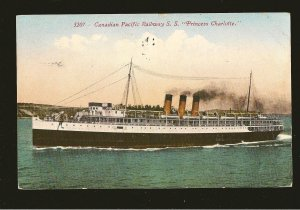 Canadian Pacific Railway SS Princess Charlotte Posted Seattle Wash 1913 Color PC