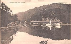 Scotland, UK Old Vintage Antique Post Card Trossachs Pier and Steamer Unused