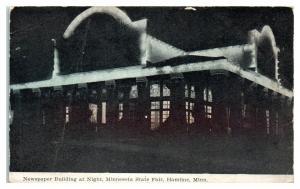 Newspaper Building at Night, Minnesota State Fair, Hamline, MN Postcard *5E4