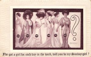 Victorian Comic~Ladies Line Up~Got Girl for Each Day of Week~Be My Sunday Girl?