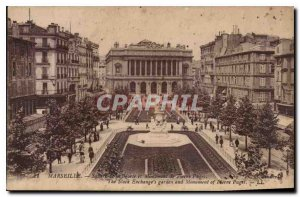 Postcard Marseille Old Square of the Bourse and monuments of Pierre Puget