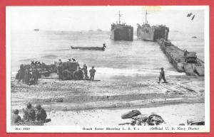 Naval Ships - #1228 - Beach Scene Showing LST's