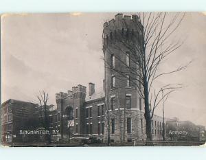 pre-1907 rppc ARMORY BUILDING in Binghamton New York NY postcard v1888