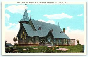 Postcard NY Fishers Island Our Lady of Grace Roman Catholic Church R35