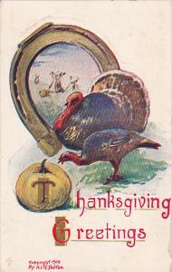 Thanksgiving Greetings, Wild Turkeys, Horse Shoe, Fall Scene, Pumpkin, 00-10s