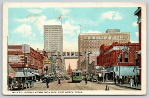Fort Worth Texas~Main Street @ 10th~Majestic Vaudeville~Renfro's~Trolley~1924