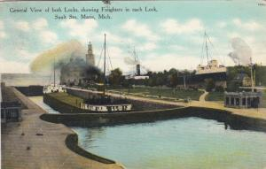 SAULT STE. MARIE, Michigan, 1911; View of both locks,showing Freighters in each