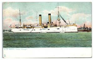 1908 USS Chicago CA-14 Protected Cruiser WWI Postcard *5E4