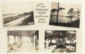 RP: ORR , Minnesota , 1937 ; 4 View Postcard , Northland Lodge