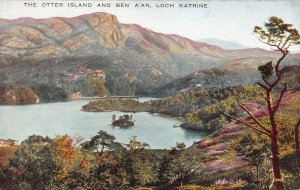 The Otter Island and Ben A'an, Loch Katrine, Scotland, Early Postcard, Unused