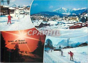 Postcard Modern Snow and Ski Soleil in Les Carroz