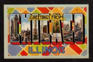 IL Greetings CHICAGO ILLINOIS Large Letter Lg Postcard