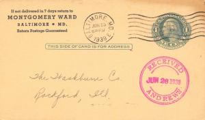 Baltimore Md~Montgomery Wards Wants Late Mdse From Washburn Andrews Wire Co~1939