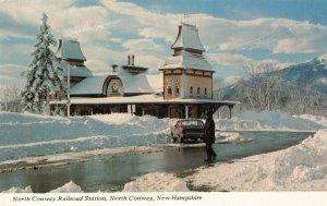 Postcard North Conway Railroad Station New Hampshire