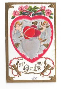 Valentine Silk Heart Cupid Roses Vintage Embossed Postcard