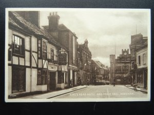 Sussex HORSHAM The Kings Head & Town Hall MARKET SQUARE c1930s PC by Valentine
