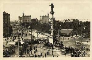 austria, WIEN VIENNA, Praterstern, Tram Street Car (1930s) RPPC Postcard
