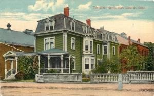New London Connecticut~The Elks Home~Green Clapboard Bldg~1910 Postcard