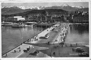 Switzerland Luzern und die Alpen Bridge Tram Vintage Cars Postcard