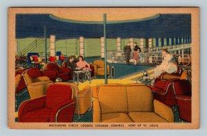 St Louis MO, Steamer Admiral, Mezzanine Circle Lounge, Linen Missouri Postcard