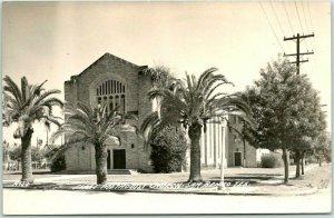 1940s SAN BENITO, Texas RPPC Photo Postcard FIRST METHODIST CHURCH Street View