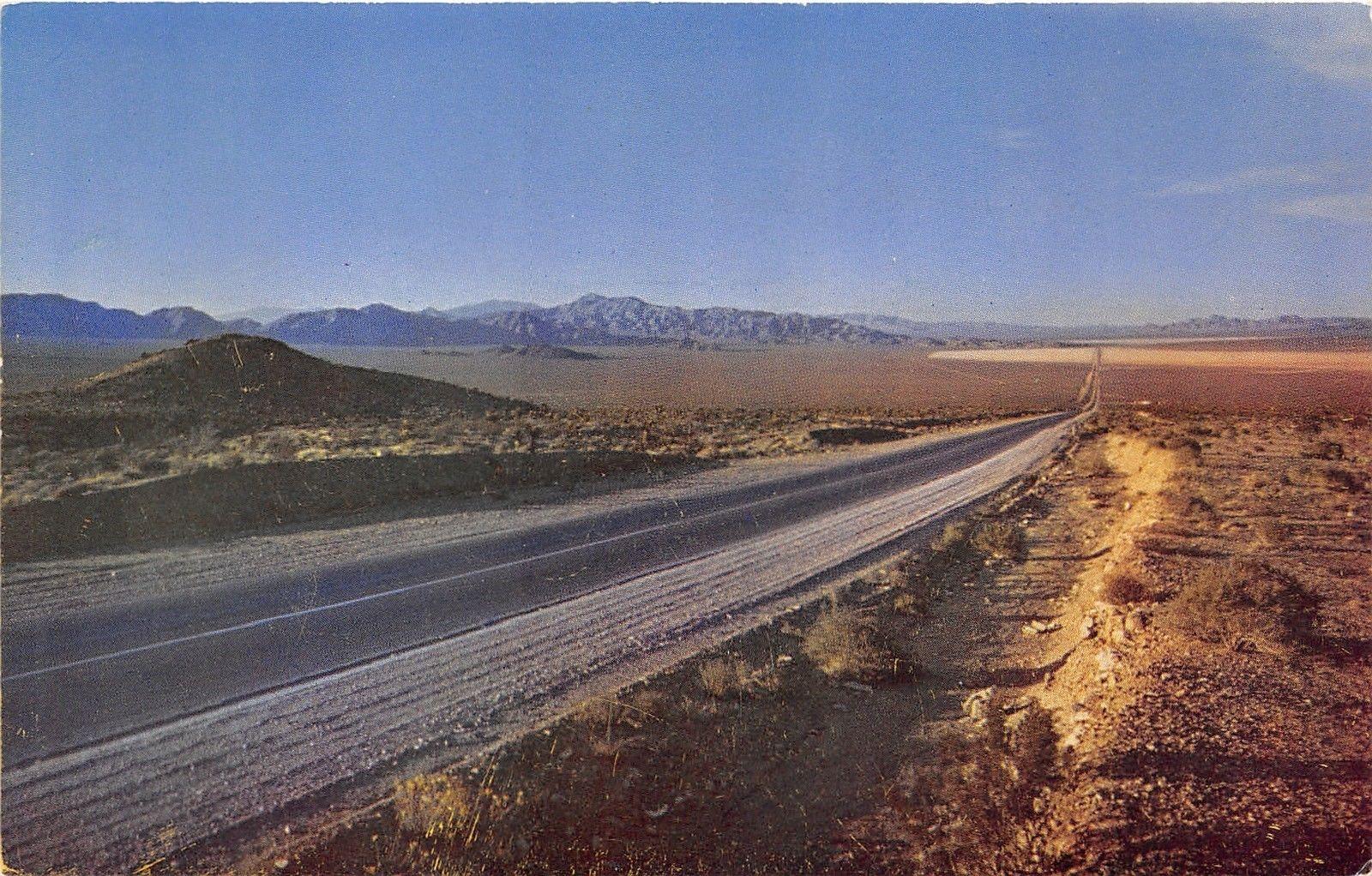 Las Vegas-Boulder City Nevada~Sunset on Desert Highway~1950s