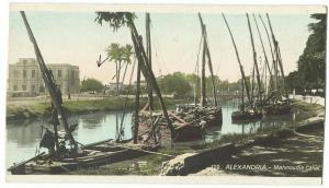 Egypt, ALEXANDRIA, Mahmoudia Canal, early 1900s cut unused Mini Size Postcard
