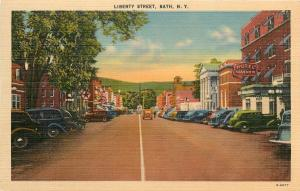 Bath New York~Liberty Street~Hotel Wagner~Texaco Star~1940s Cars~Linen Postcard