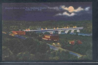 Virginia postcard SW VA Memorial Bridge Radford Moonlight