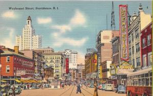 Providence Rhode Island~Weybosset Street~Loew's State Theatre~Bond~Bus~Hotel~40s