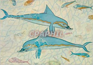 Postcard Modern Heraclion Museum Dolphines The Fresco from Knossos
