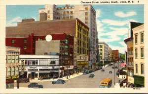 New York Utica Genesee Street Looking South Woolworth Curteich