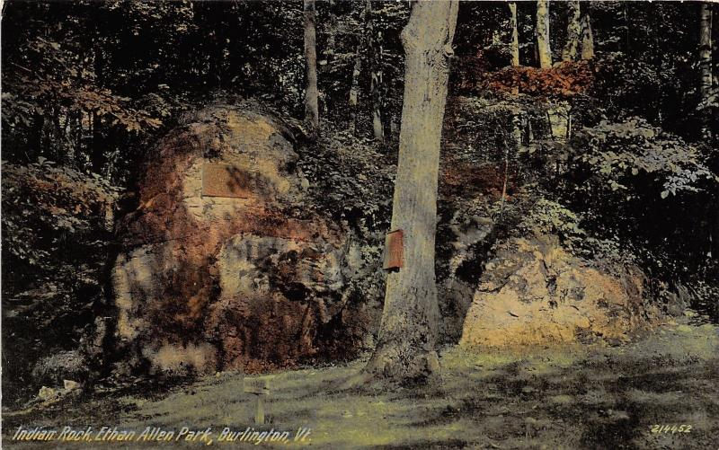 Burlington Vermont~Ethan Allen Park-Indian Rock~Signs on Rock-Ground-Tree~c1910